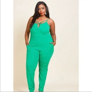 aacfb005f69e2 pink clubwear Pants - Plus size Cute Upper Cross Jumpsuit